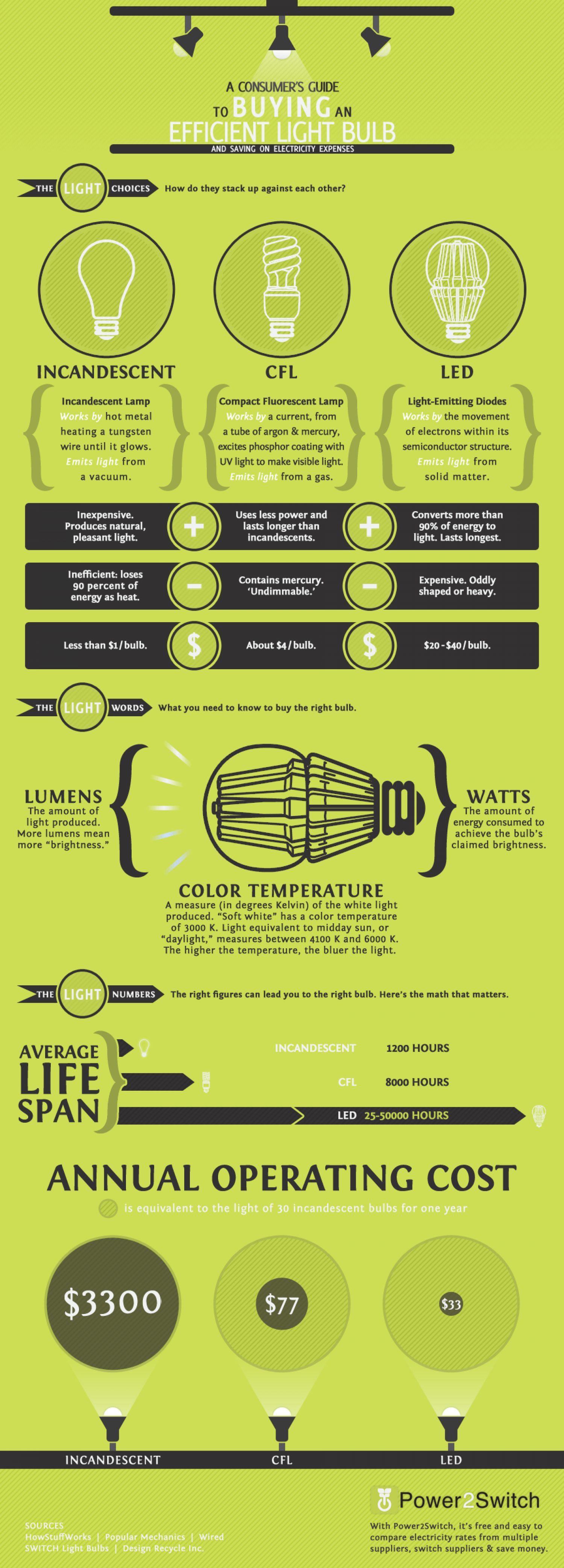 Energy Efficient Light Bulbs Infographic
