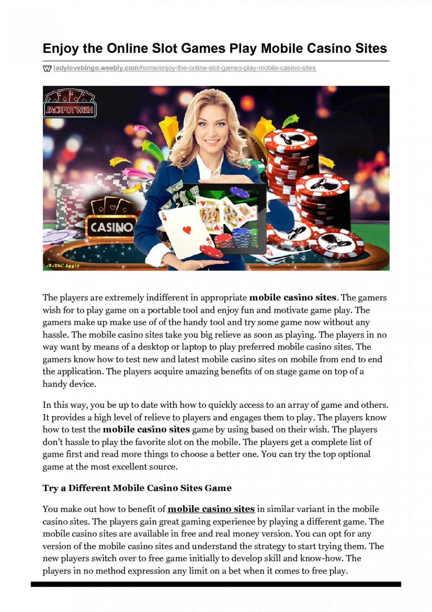 Enjoy the Online Slot Games Play Mobile Casino Sites Infographic