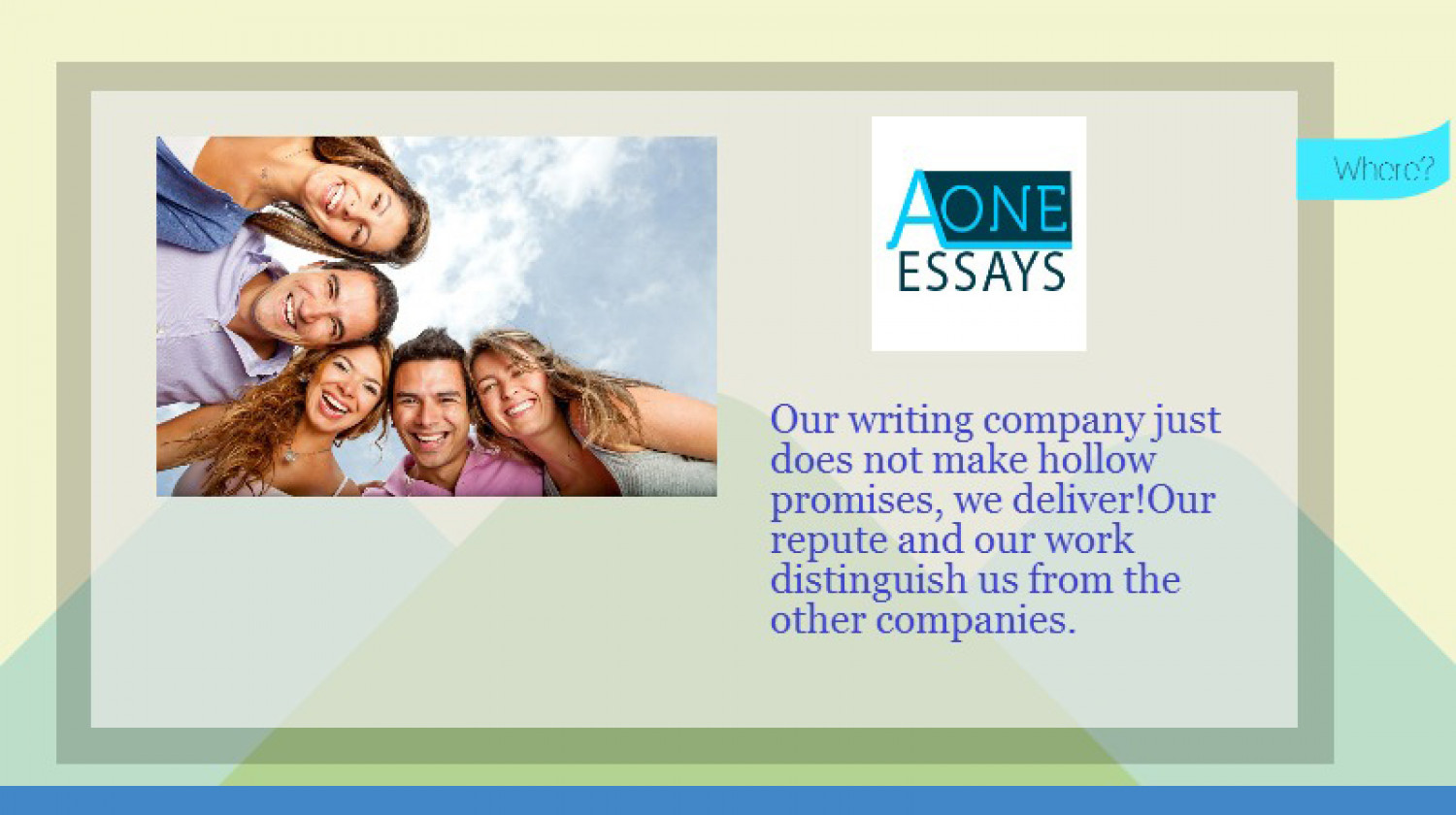 paper writing services Why do students feel as if they need them i recently had the opportunity to speak with a former writer for a prestigious essay writing service and his.