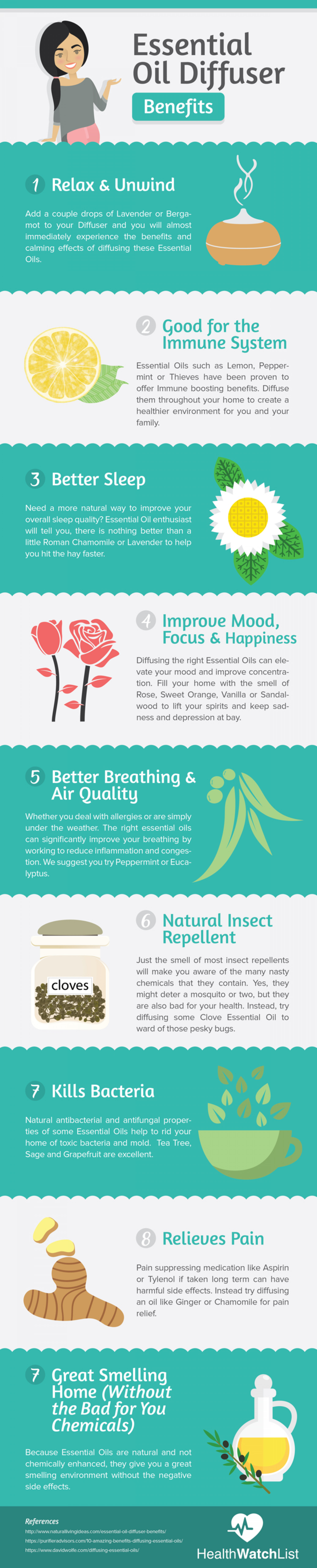 Oil Diffuser Benefits Infographic