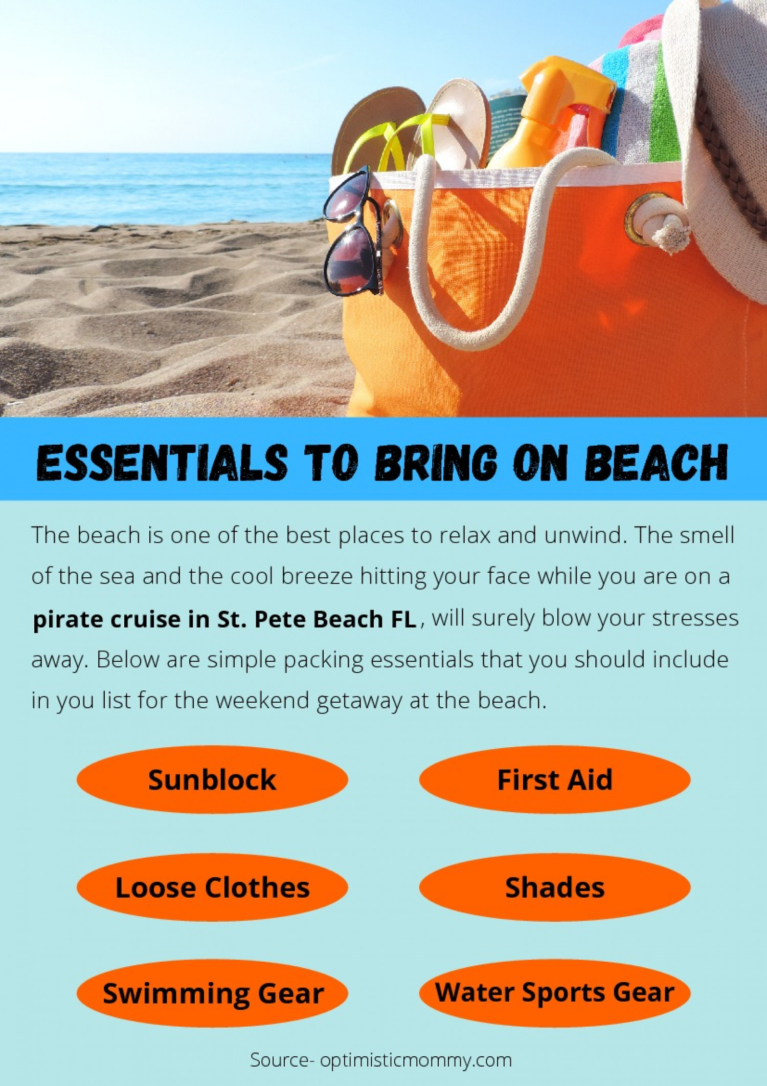 ESSENTIALS TO BRING ON BEACH Infographic