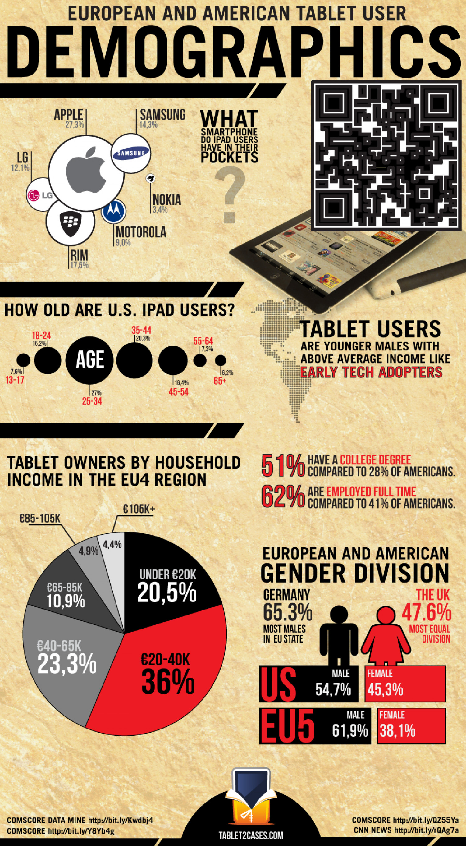European and American Tablet User Demographics Infographic