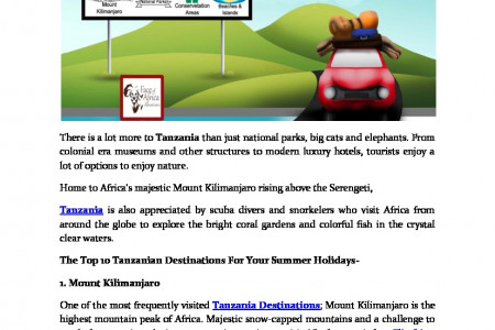 Exploring Highlighted Tanzania Destinations This Summer Infographic