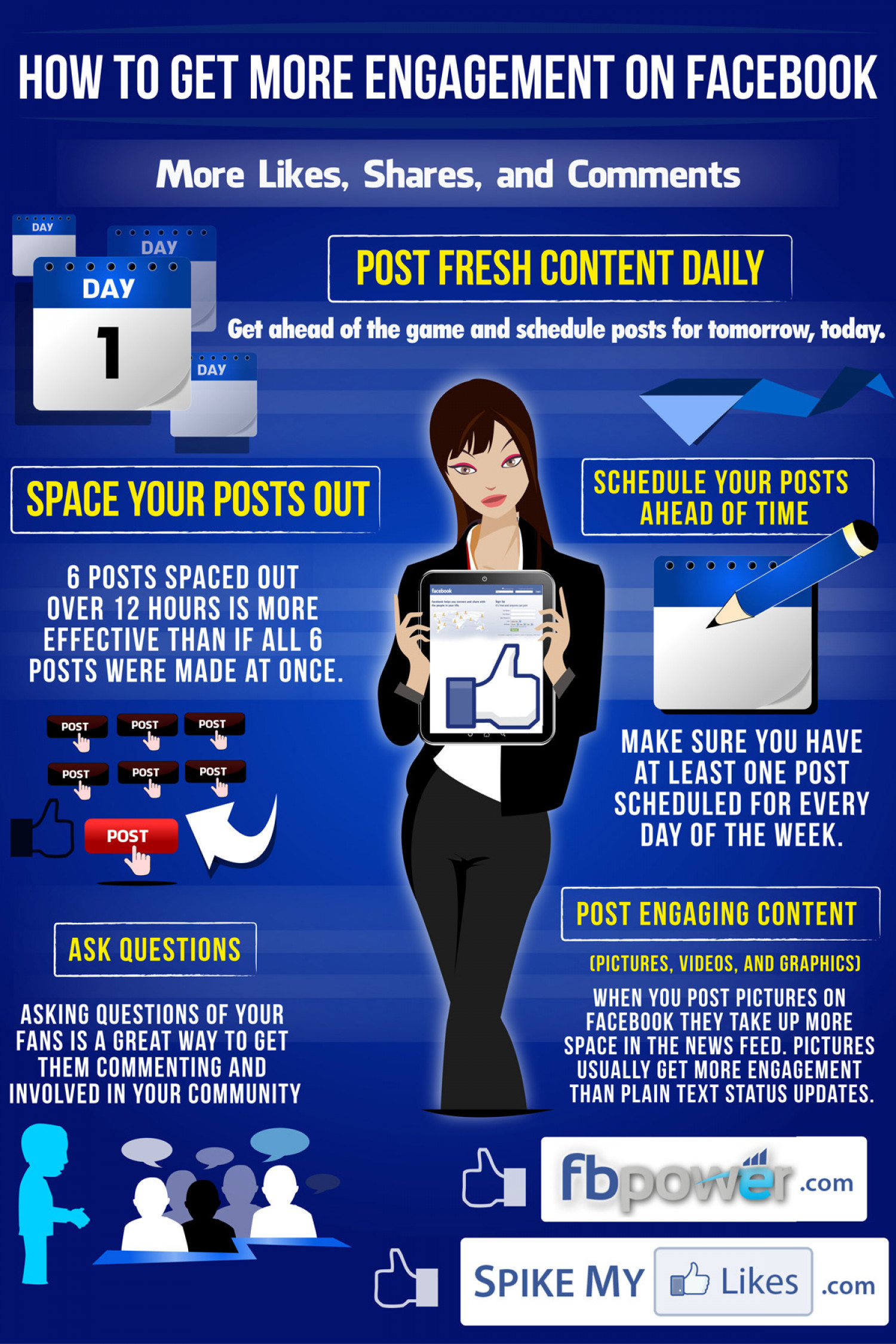 Facebook Marketing Infographic: Get More Likes, Shares, and Comments Infographic
