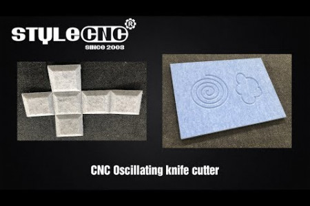 Felt and foam CNC knife cutting machine with oscillating and V-cut tool Infographic