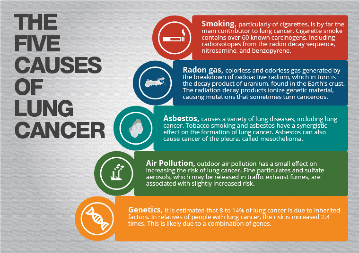 Five Causes of Lung Cancer Infographic