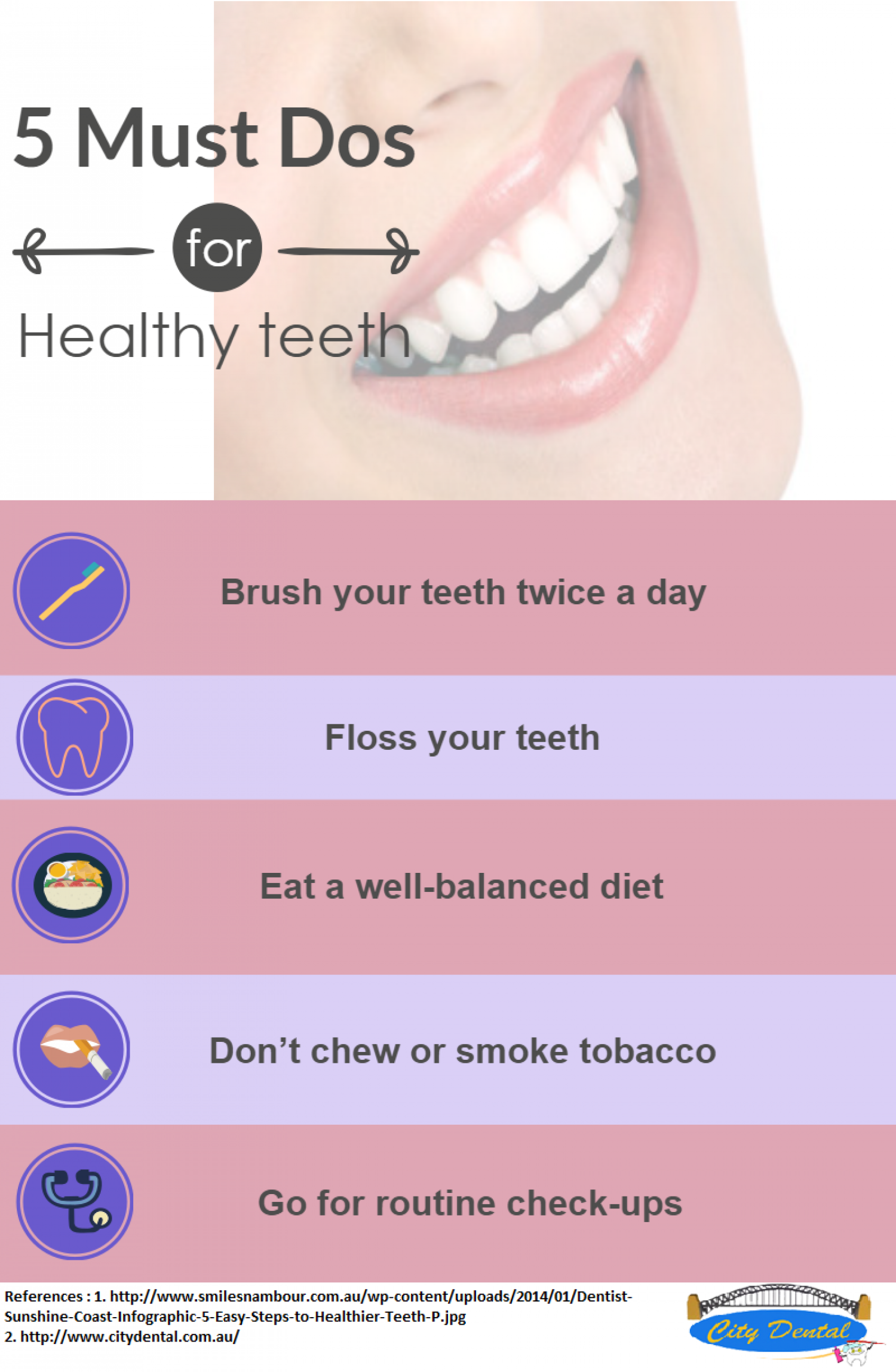 Five Must Dos- Healthy Tips Infographic