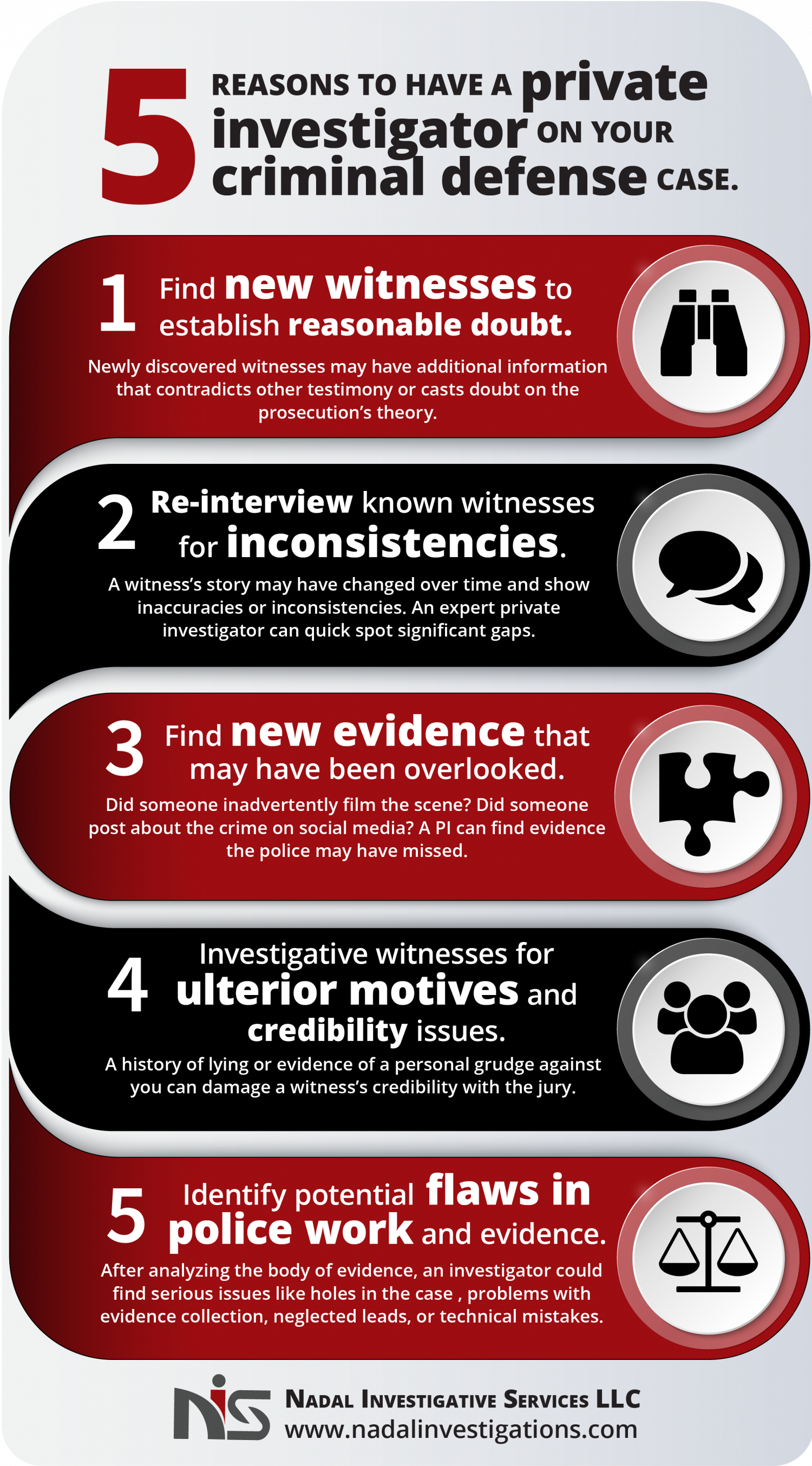Five Reasons to Hire a Private Investigator for Your Criminal Defense Case Infographic