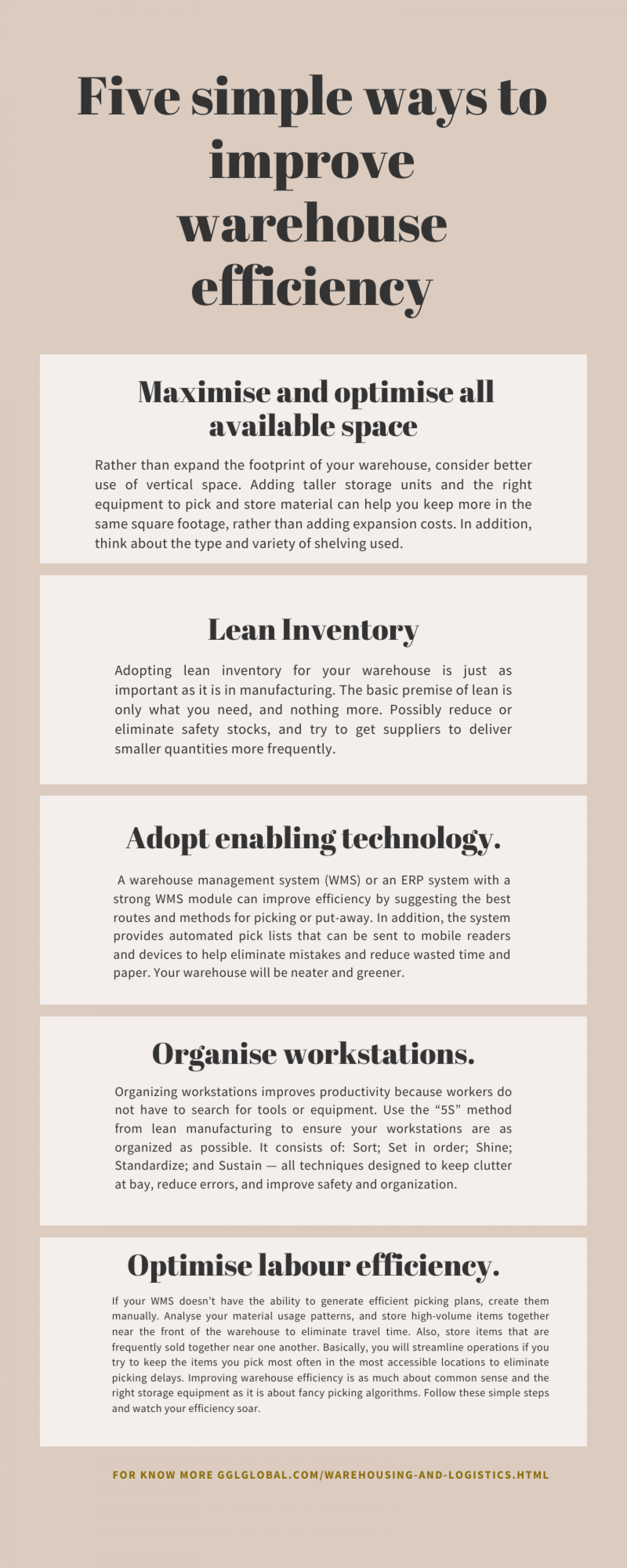 Five simple ways to improve warehouse efficiency. Infographic