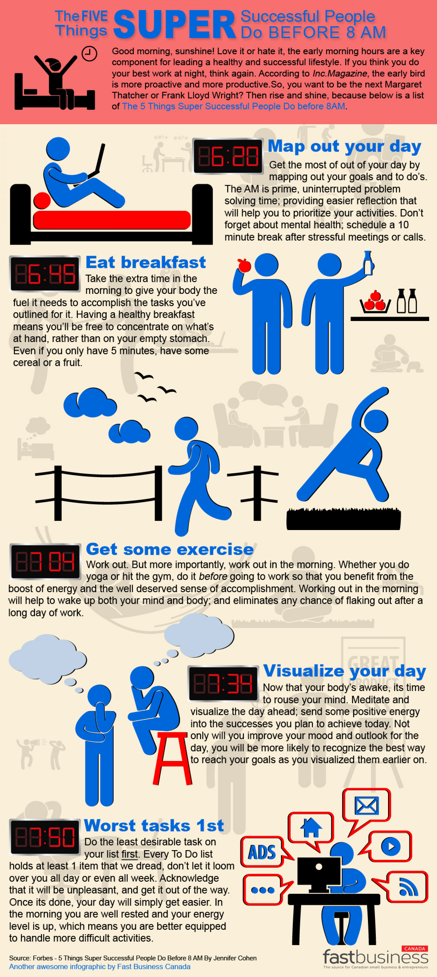 FIVE Things Super Successful People Do Before 8AM Infographic