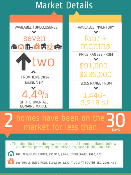 Foreclosures in Bonaire GA for July 2014 Infographic