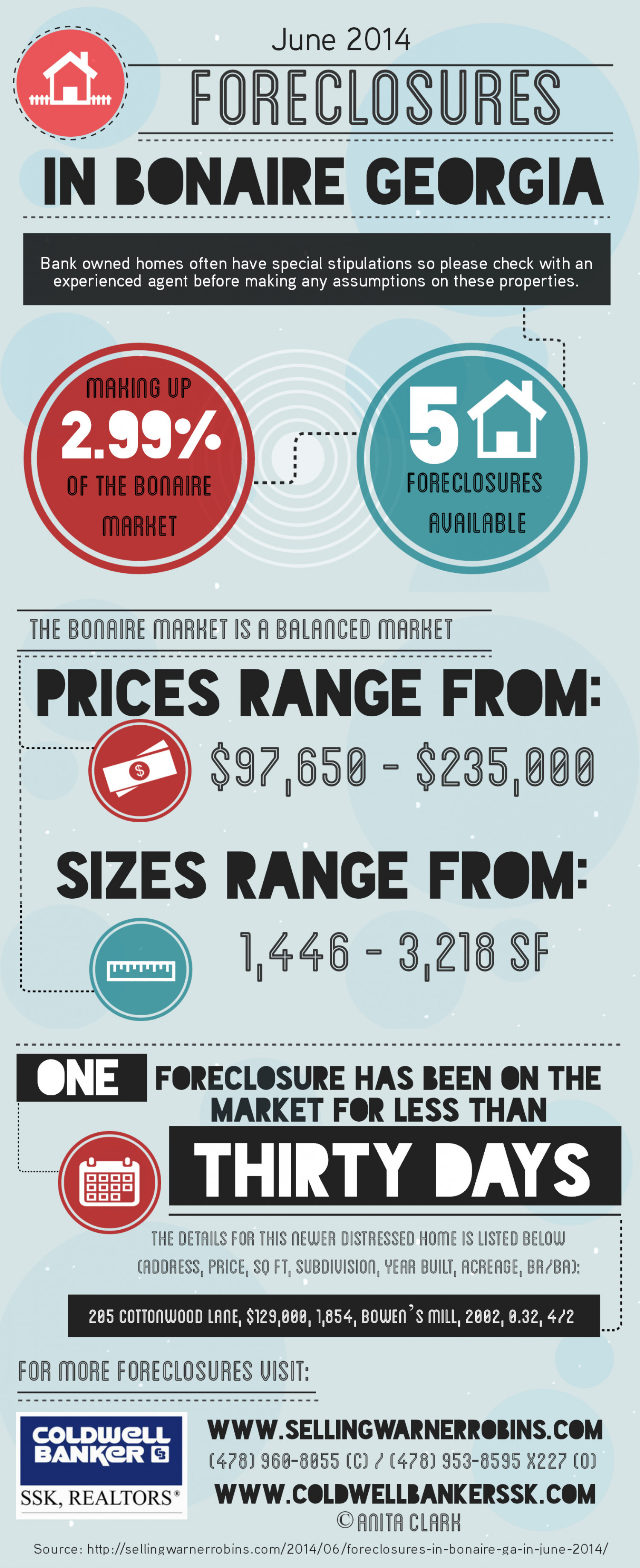 Foreclosures in Bonaire GA for June 2014 Infographic