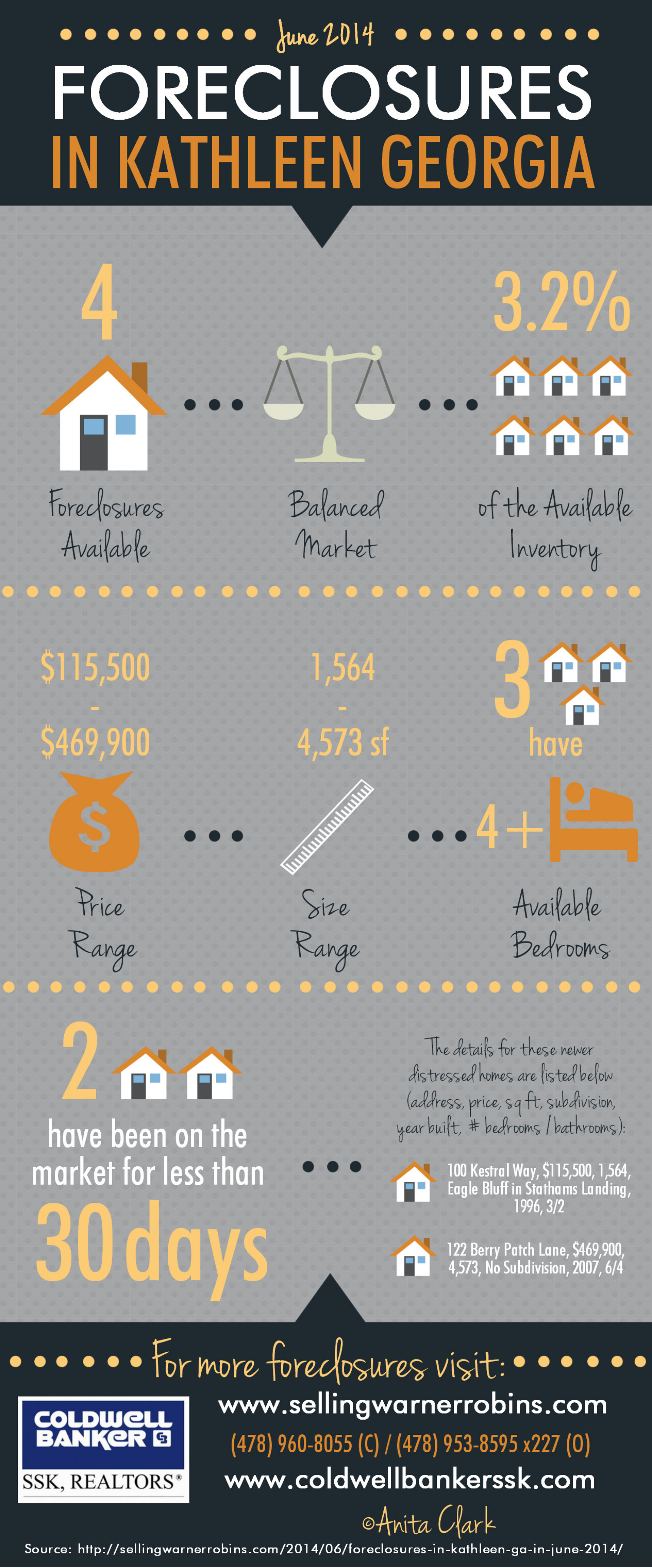 Foreclosures in Kathleen GA for June 2014 Infographic