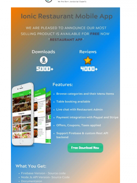 Free Ionic Mobile Theme Download - Restaurant App Infographic