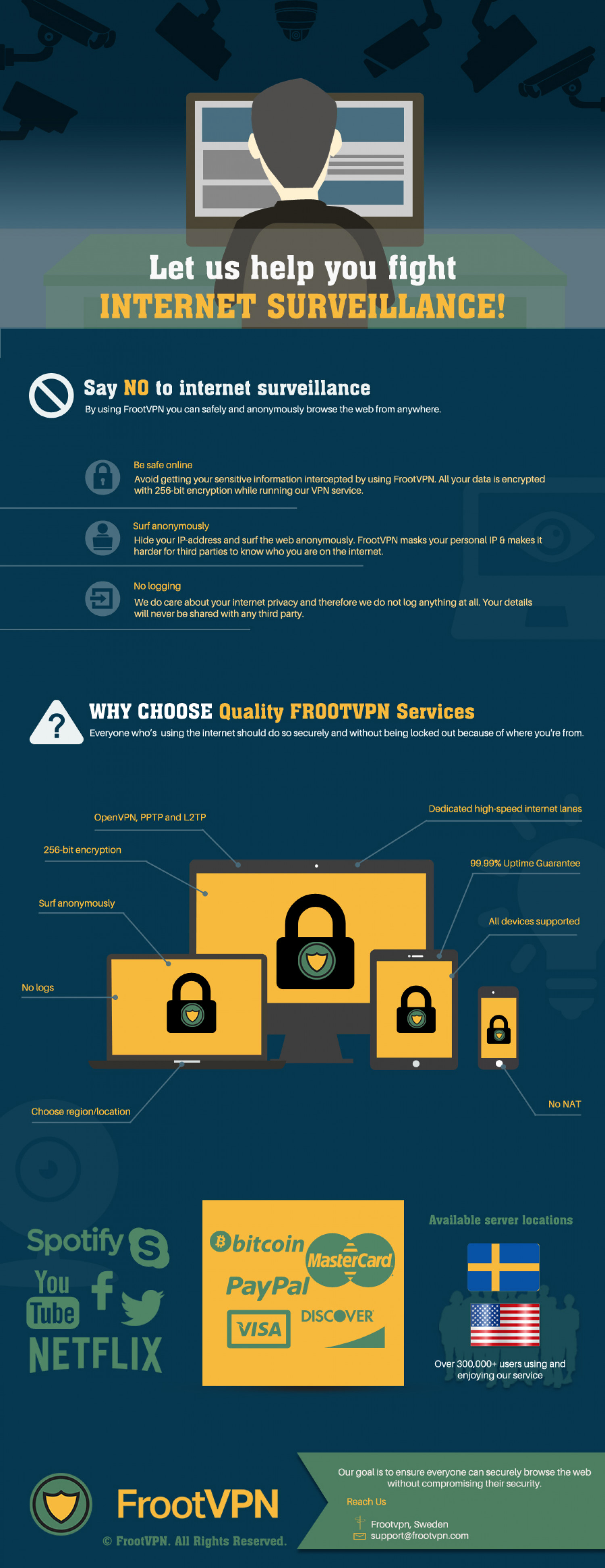FrootVPN helps you fight Internet Surveillance Infographic