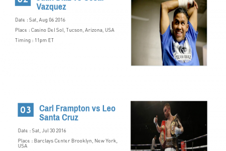 Full Schedule of Upcoming Boxing Matches 2016 Infographic