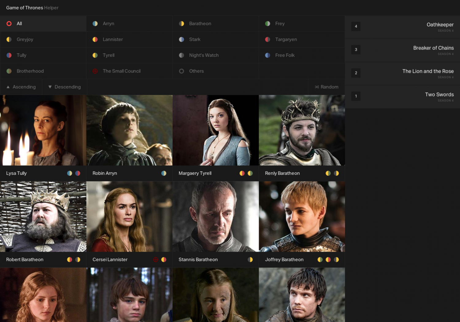 game of thrones interactive character sheet