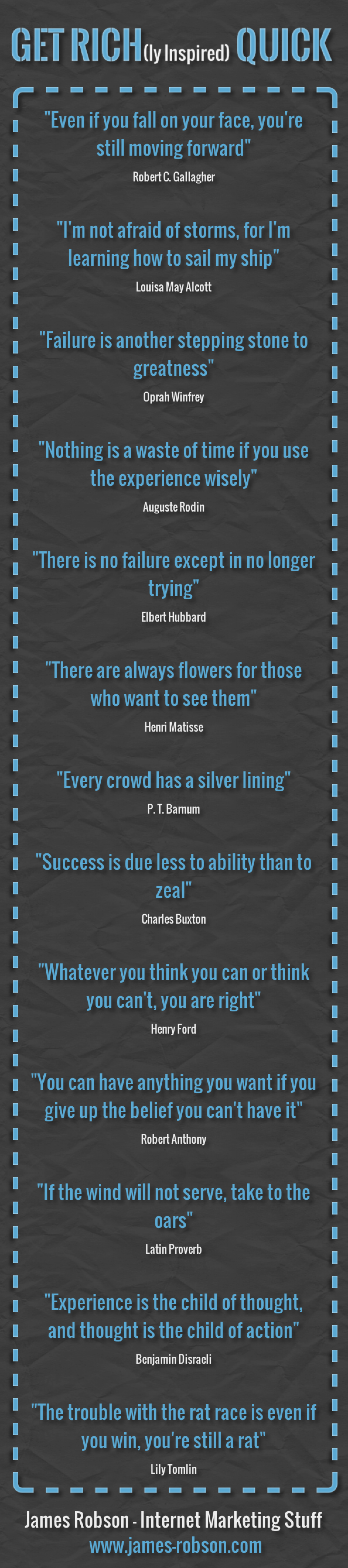 Get Rich(ly Inspired) Quick - Inspirational Quotes For Entrepreneurs Infographic