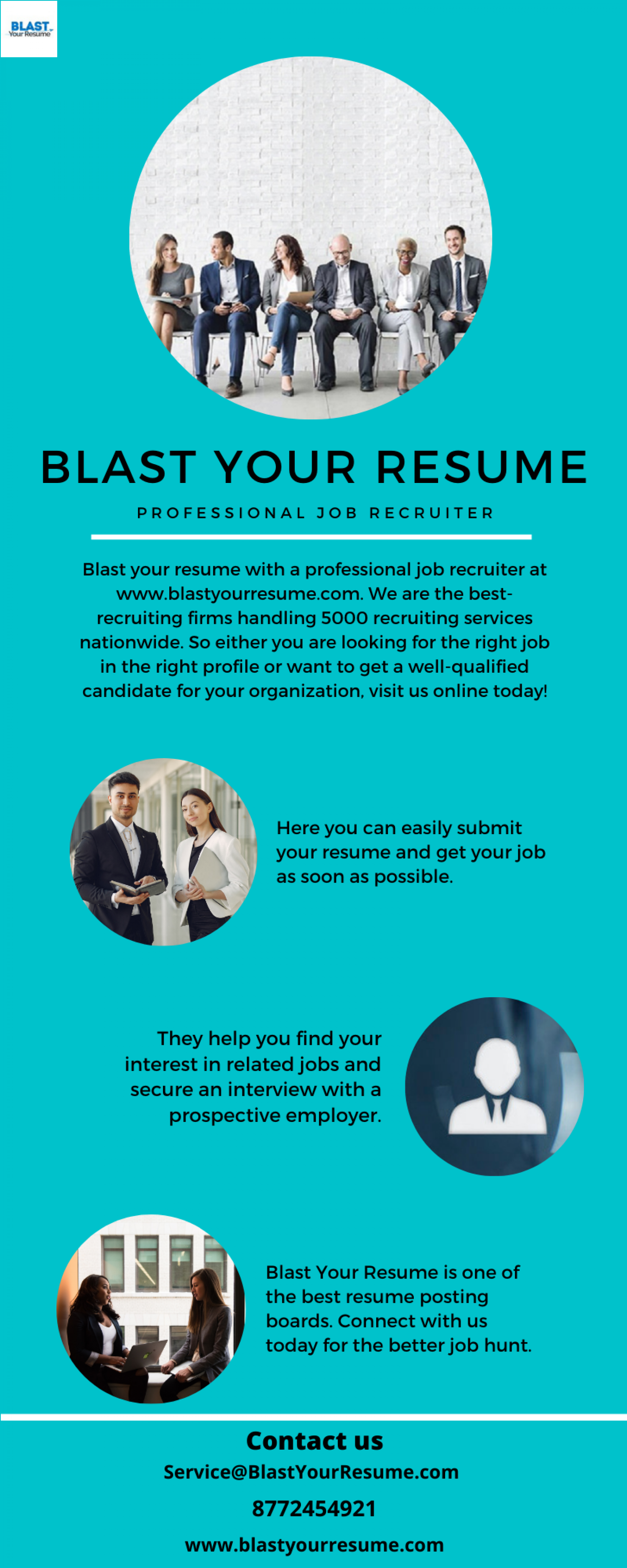 Get the Professional job Recruiter Service   BLAST Your Resume Infographic