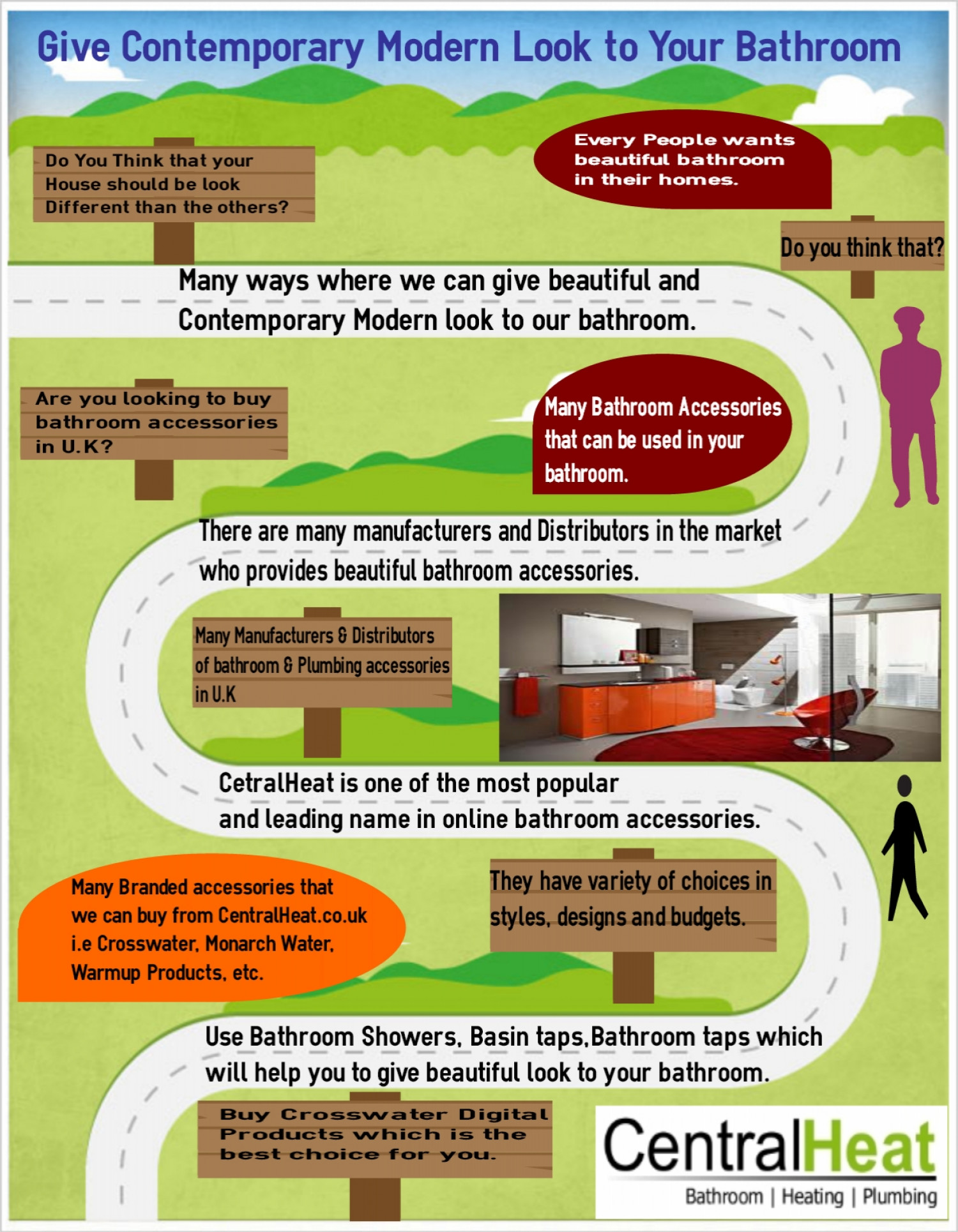 Give Contemporary Modern Look to Your Bathroom Infographic