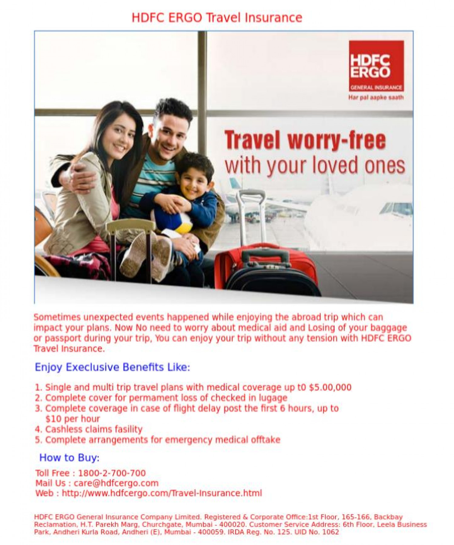 Go for HDFC ERGO Travel Insurance Infographic