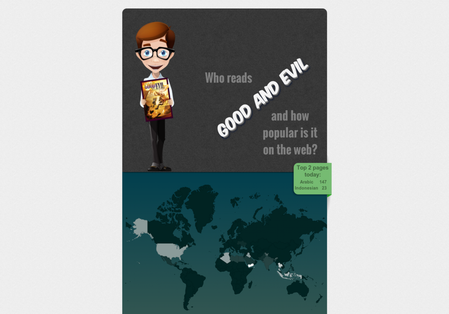 Who Reads Good and Evil and how popular is it on the web? Infographic