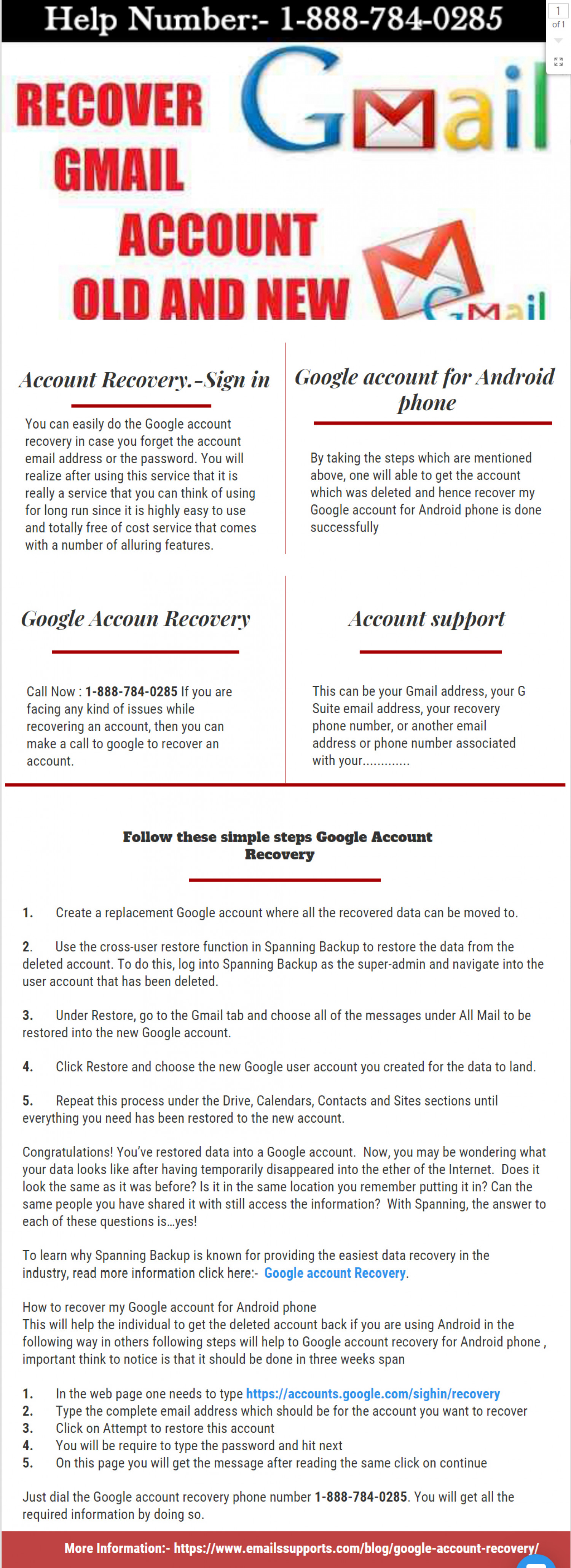 Google Account Recovery Infographic