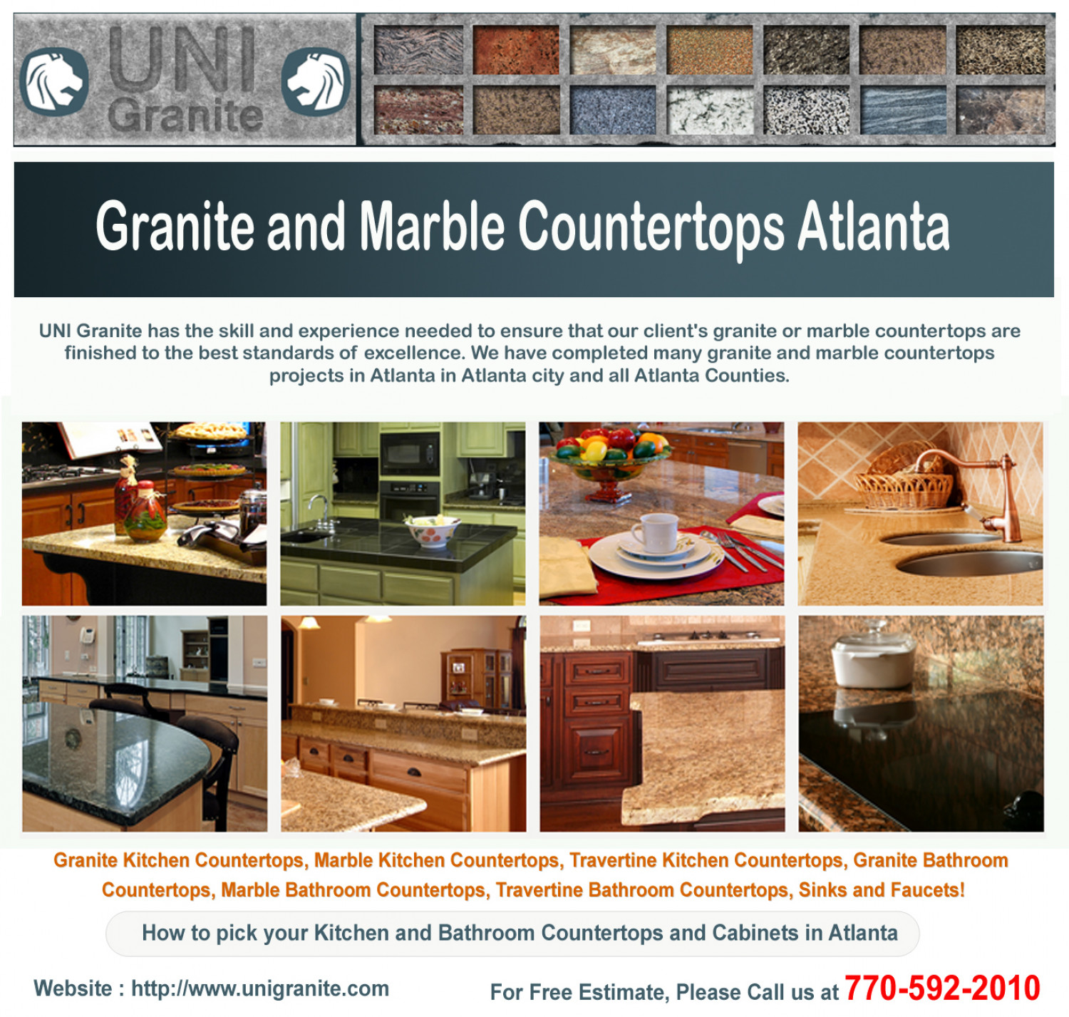 Granite Countertops Atlanta : Granite and Marble Countertops Atlanta Infographic