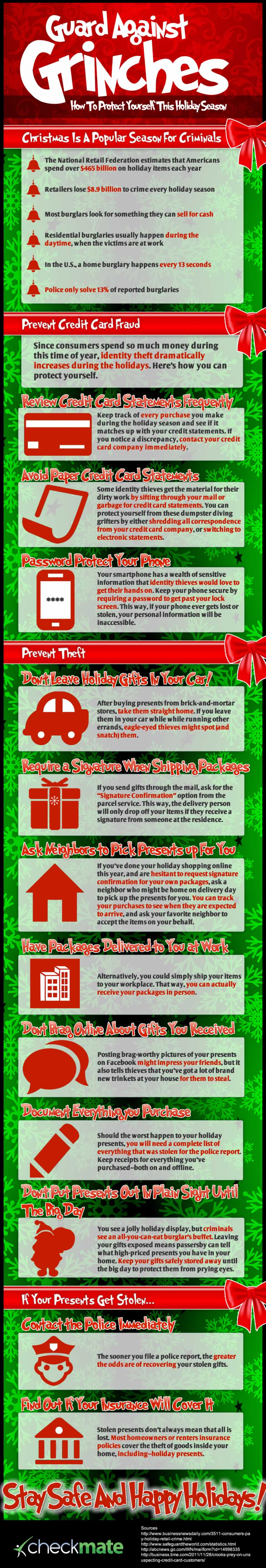 Guard Against Grinches—How To Protect Yourself From Theft This Holiday Season Infographic