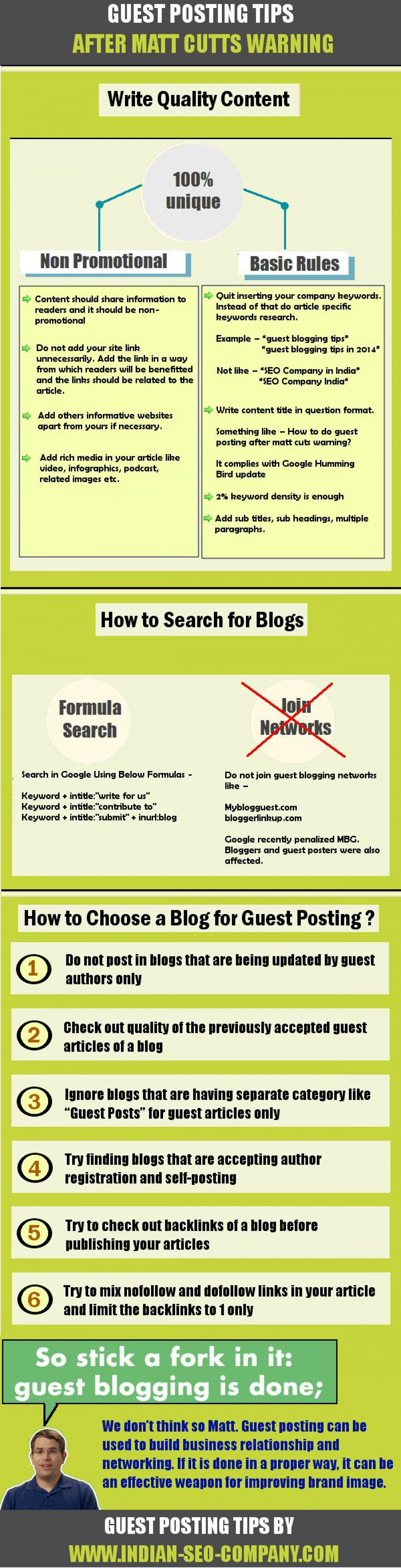 Guest Posting Tips After Matt Cutts Warning Infographic
