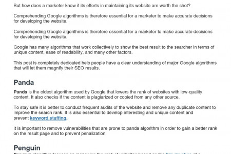Guide Of Major Google Algorithms To Acquire Summit Of Result Pages Infographic