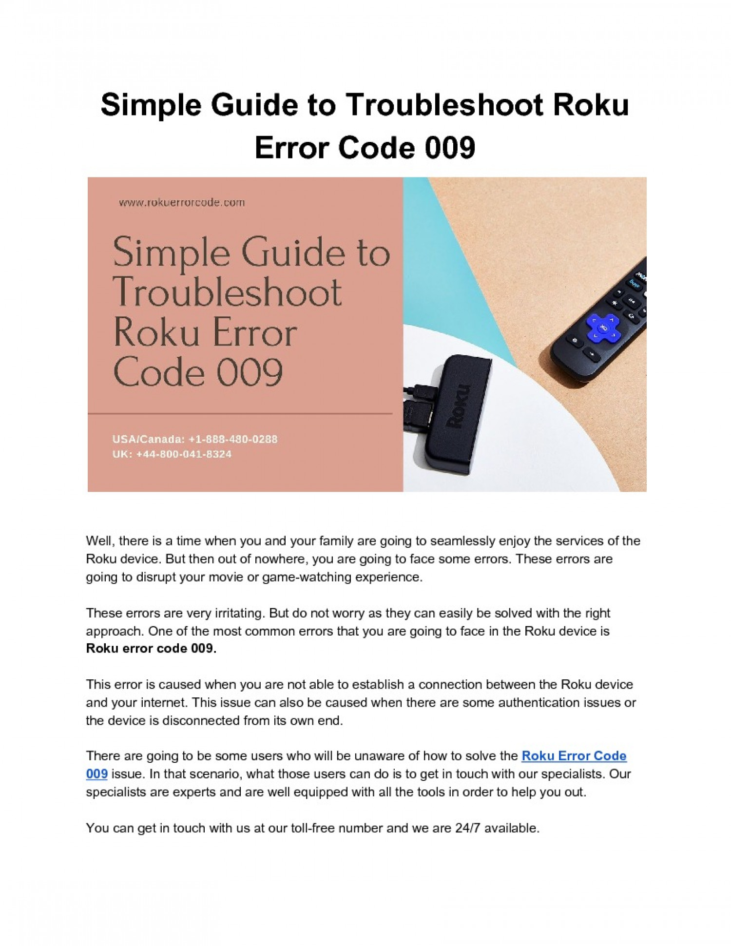 Guide to Troubleshoot Roku Error Code 009 Infographic