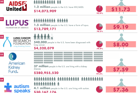 Health Charities Ranked by How Much They Spend per Afflicted Person in the United States Infographic