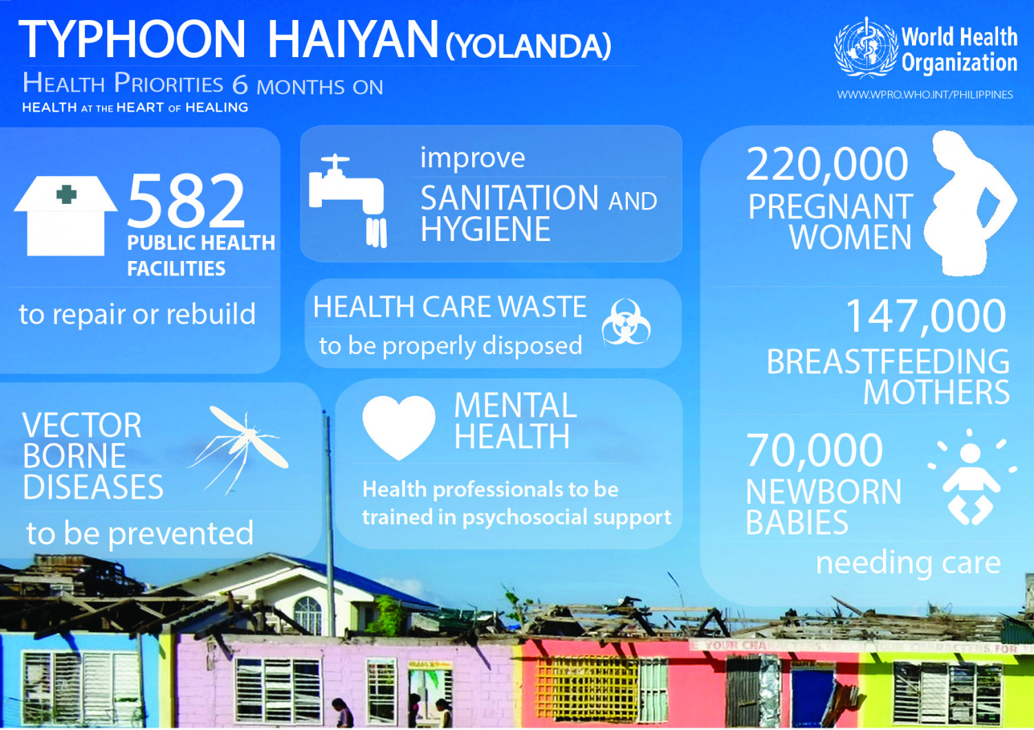 Health Priorities 6 months after Typhoon Haiyan (Yolanda) Infographic