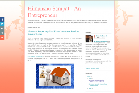 #Himanshu Sampat says #Real Estate #Investment Provides Superior Return Infographic