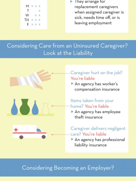Hiring a Caregiver: Licensed Agency vs. Private Employment  Infographic