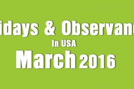 Holidays and Observances in USA in March 2016 Infographic
