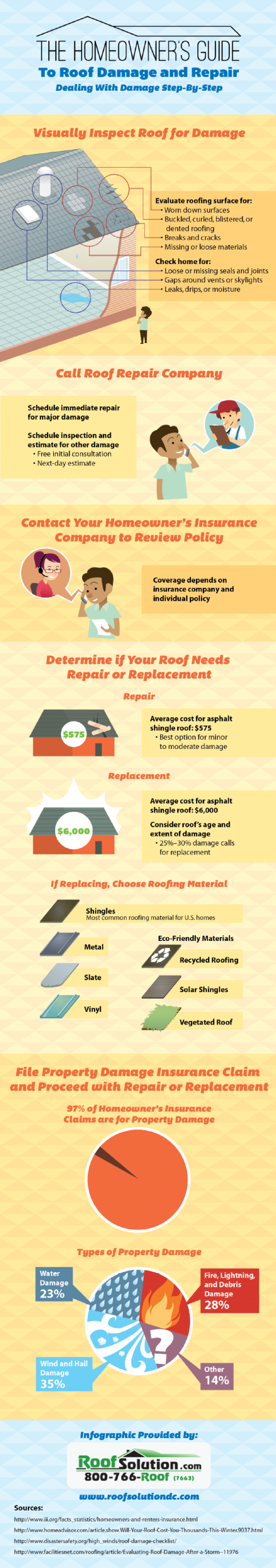 Homeowner's Guide to Roof Damage and Repair Infographic