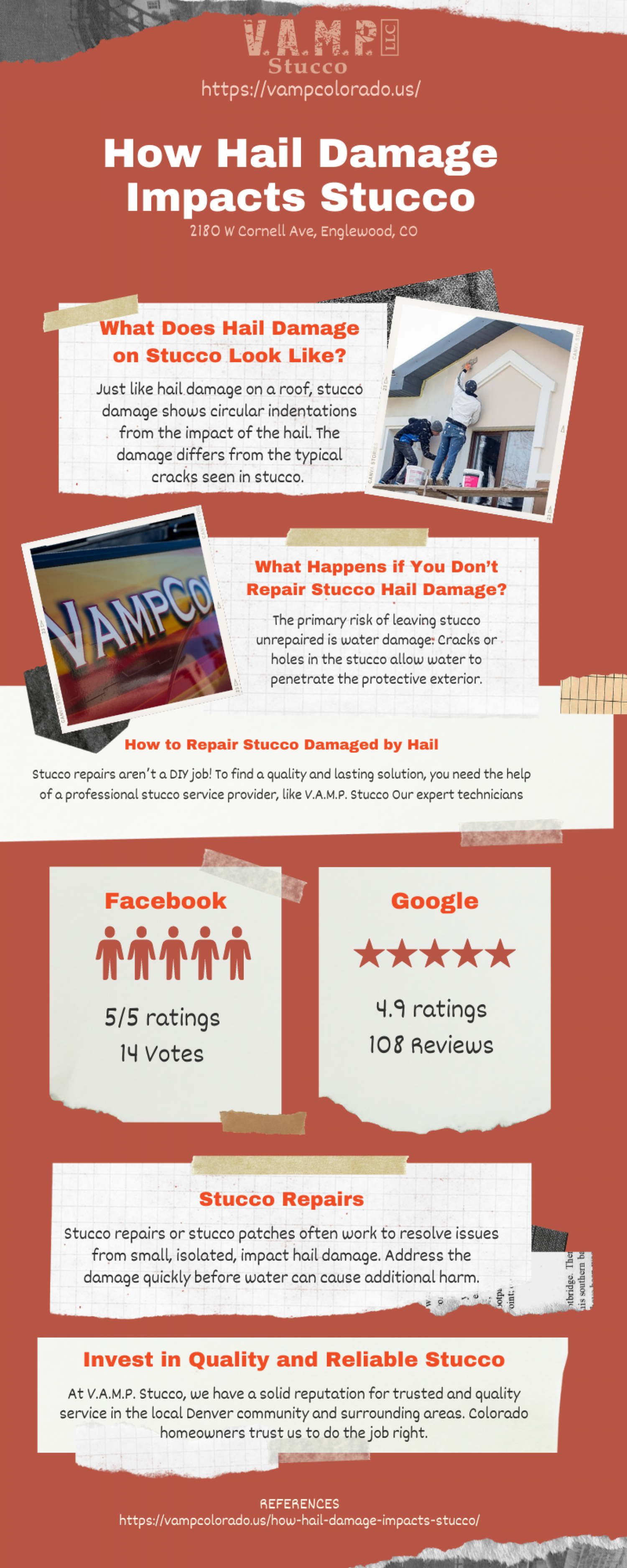 How Hail Damage Impacts Stucco Infographic