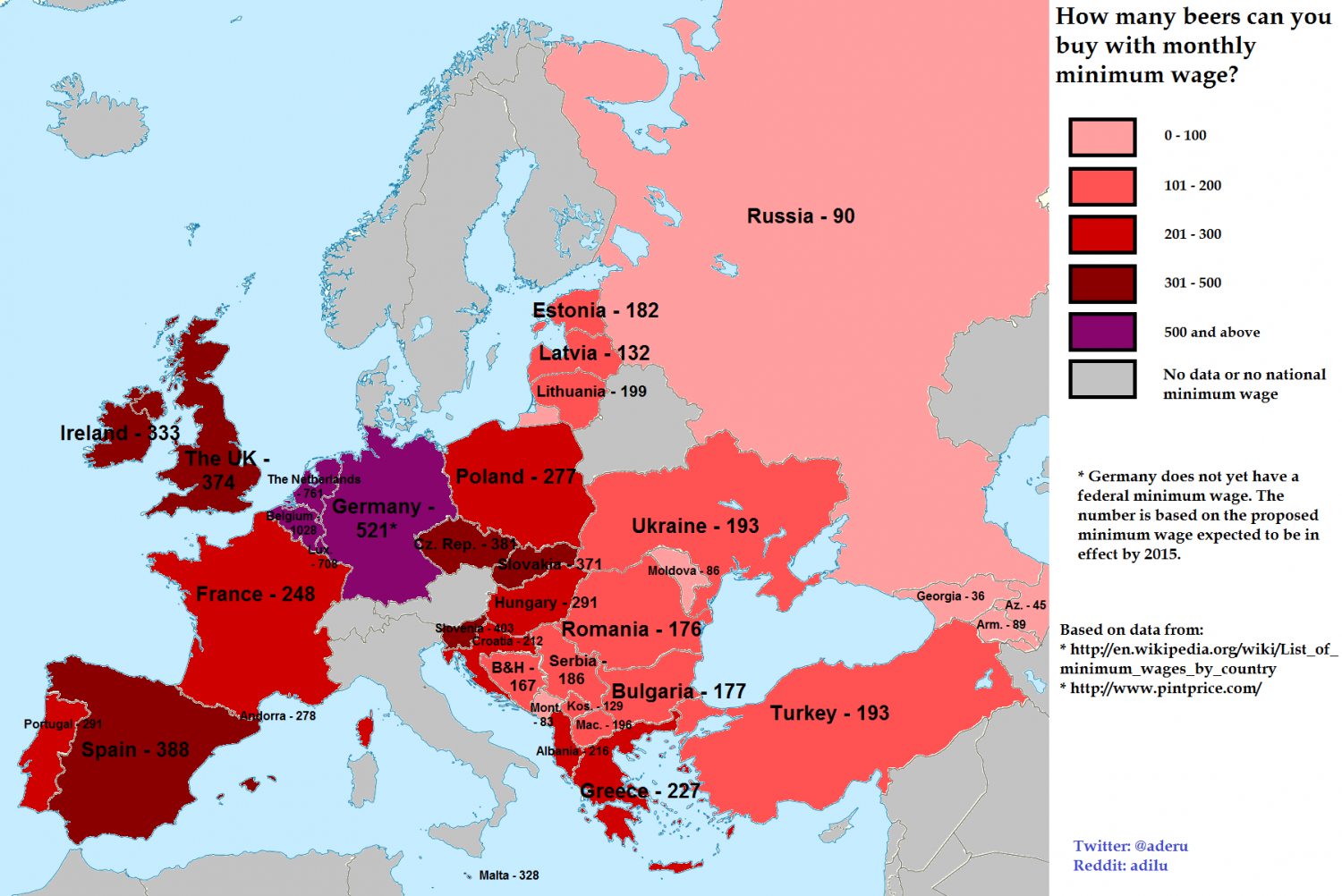 How Many Beers For Minimum Wage in Europe Infographic