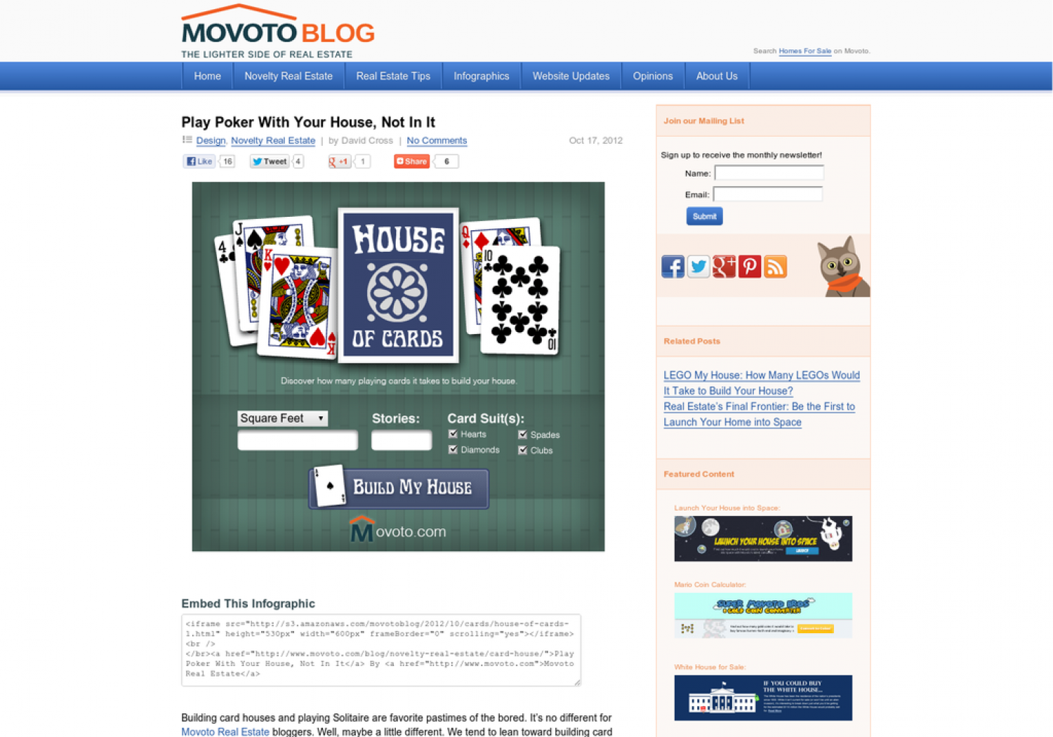 How Many Decks Would It Take to Build YOUR House Into Cards Infographic