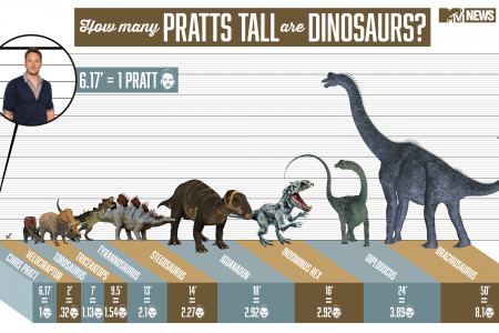 How Many Pratts Tall Are Dinosaurs? Infographic