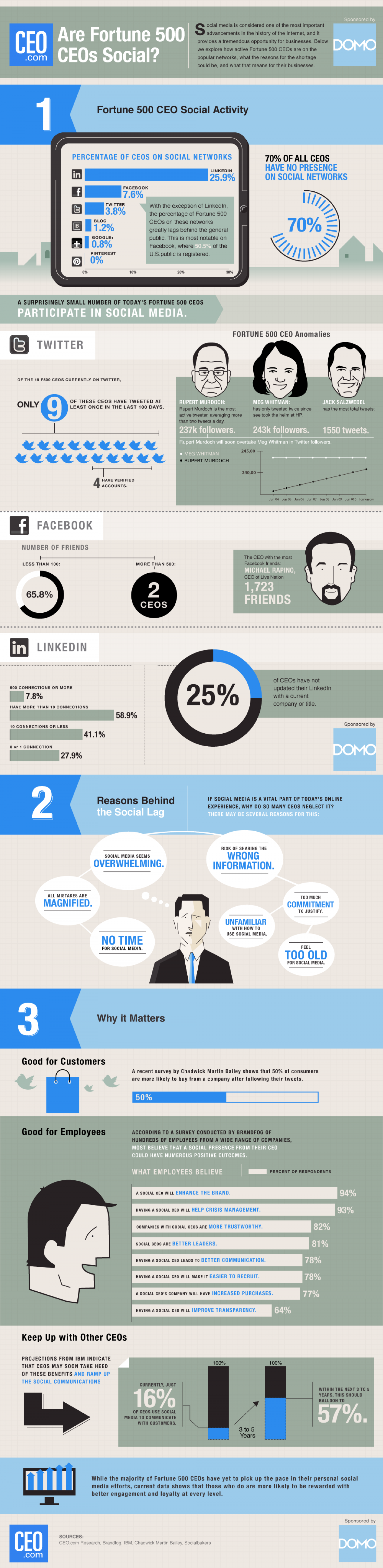 How Social Are Fortune 500 CEOs?  Infographic