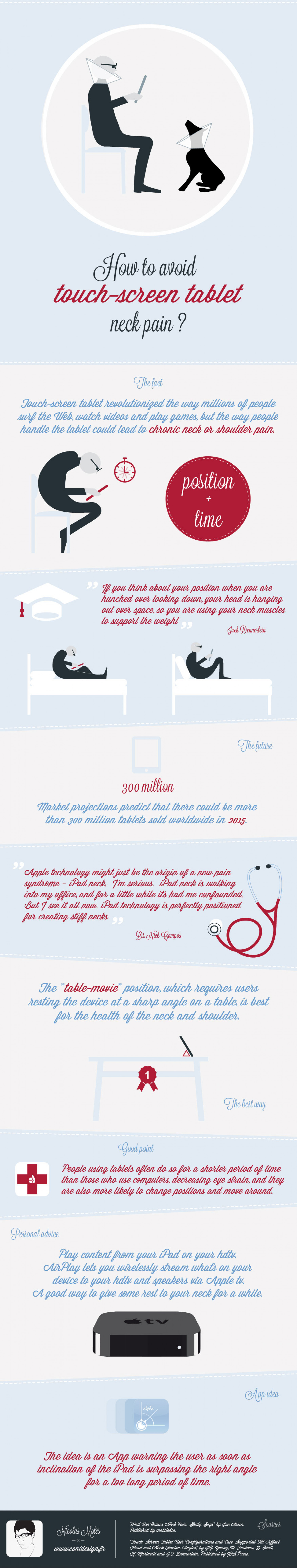 How to avoid touch-screen tablet neck pain? Infographic