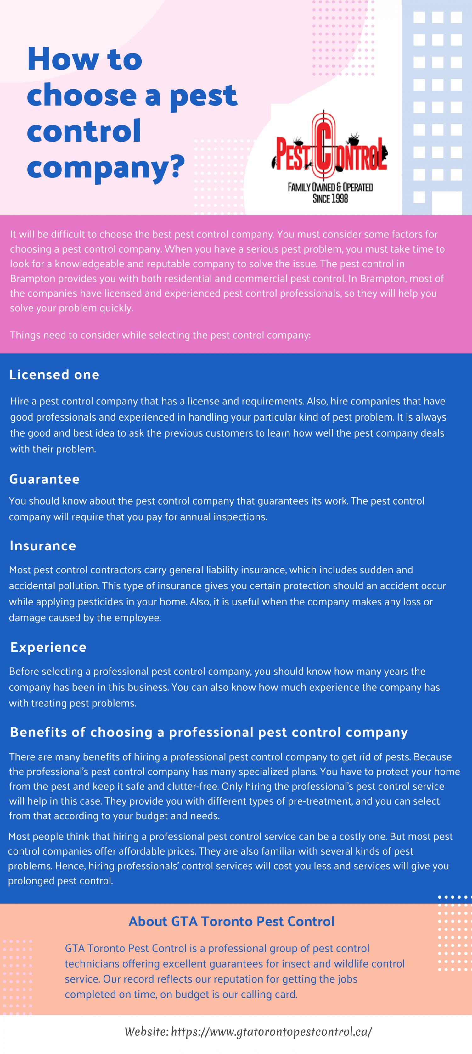 How to choose a pest control company? Infographic