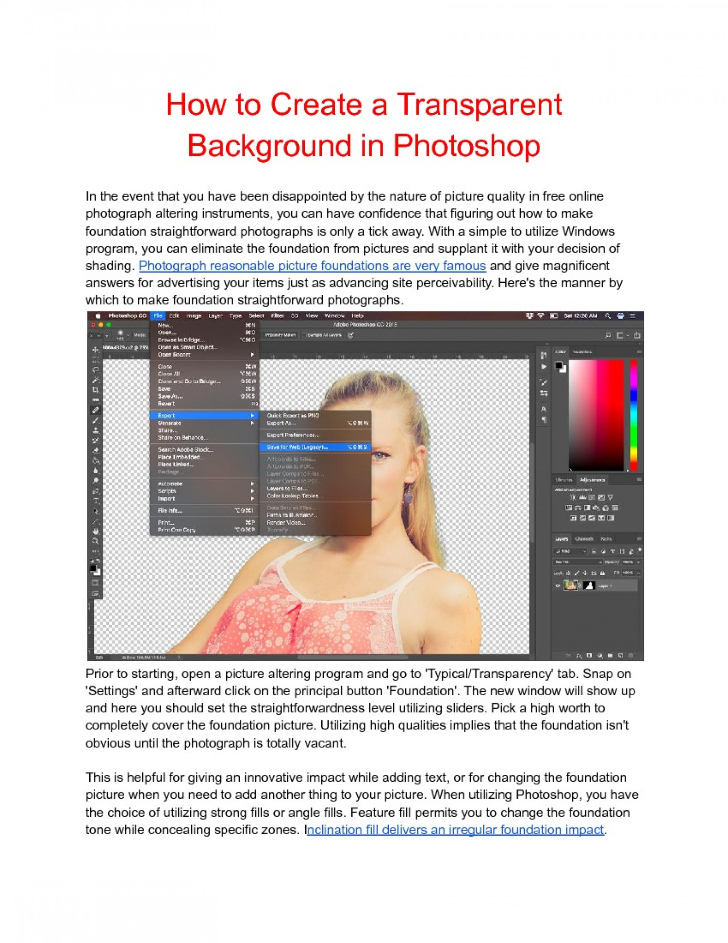 How to Create a Transparent Background in Photoshop Infographic