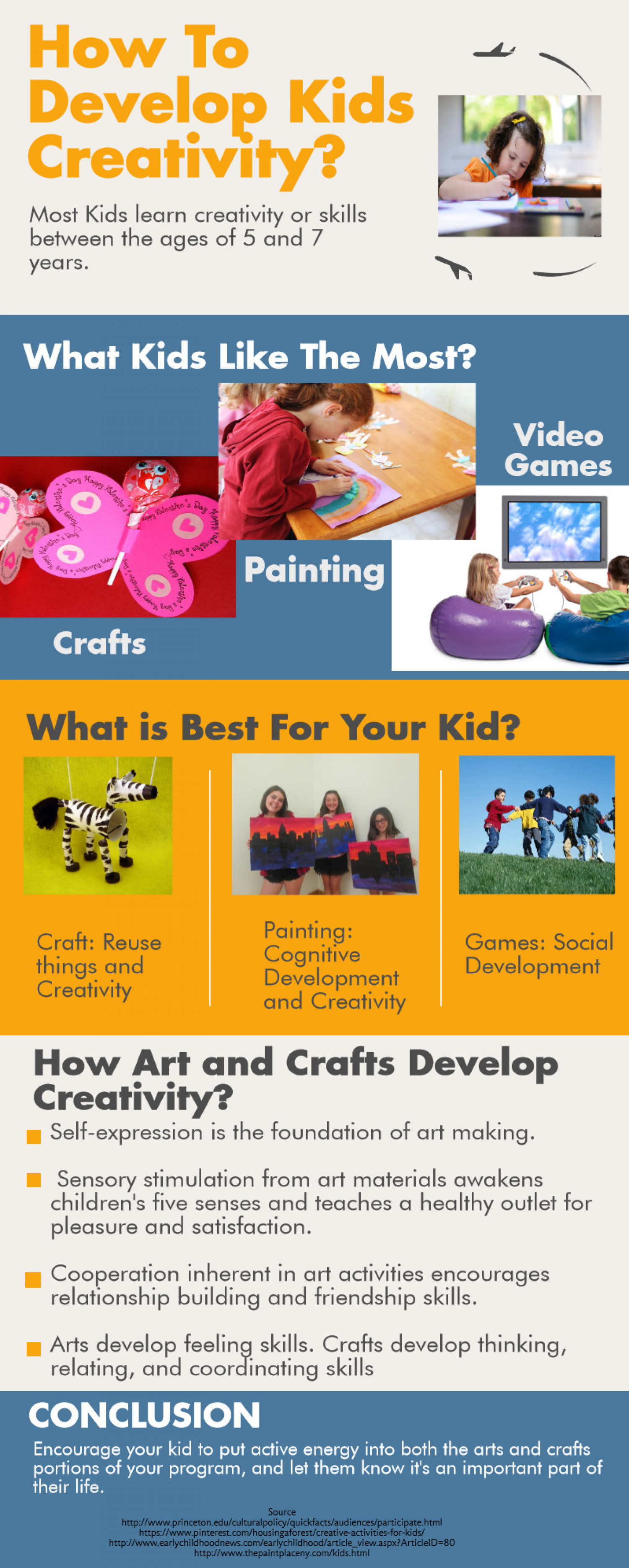 How to develop kids creativity? Infographic
