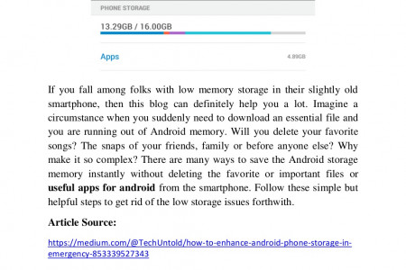 How to enhance Android phone storage in Emergency? Infographic