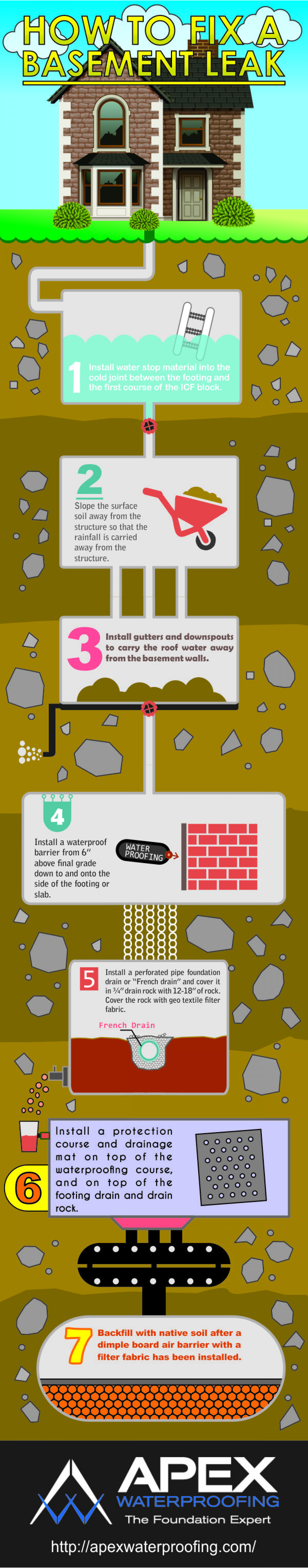 How to Fix a Basement Leak Infographic