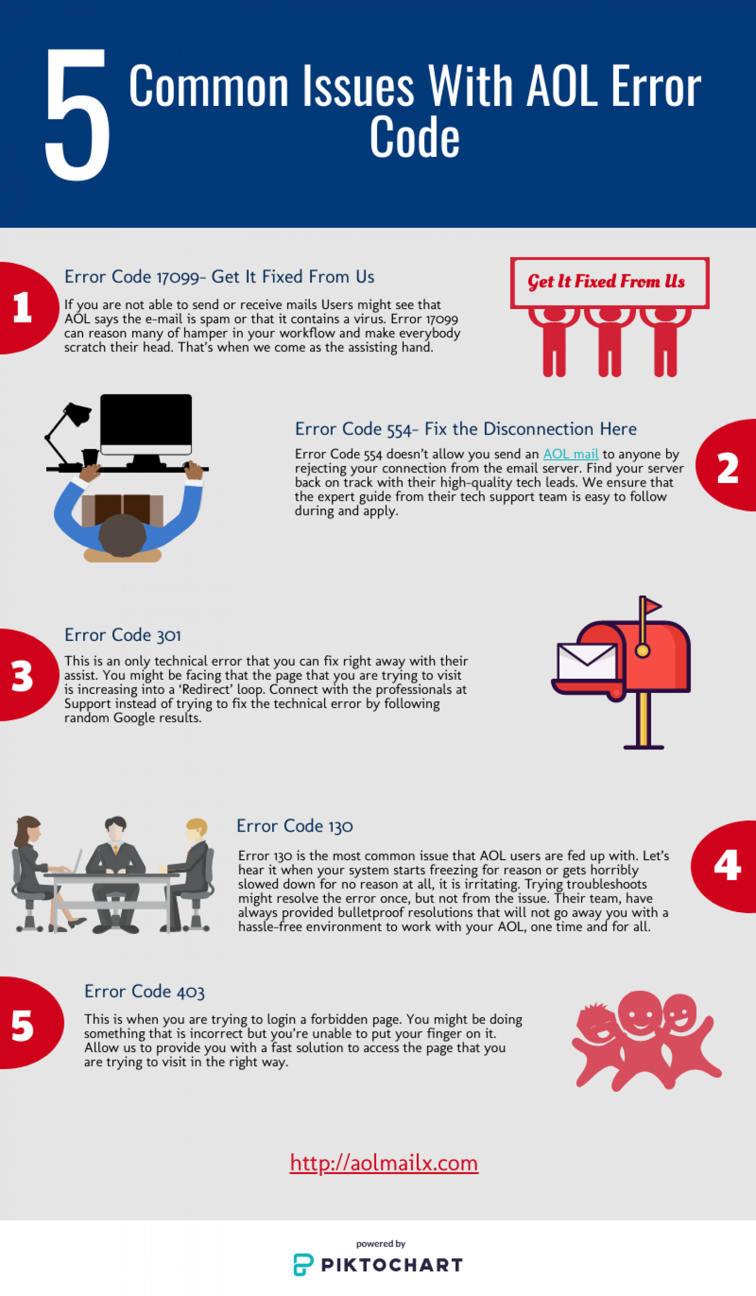 How to fix common issues with AOL error code? Infographic